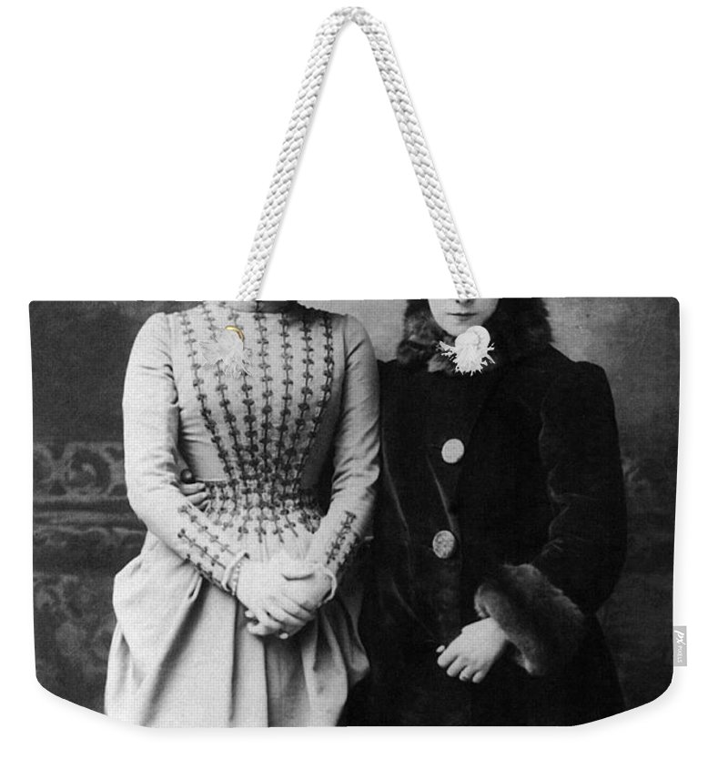 1887 Weekender Tote Bag featuring the photograph Sarah Bernhardt (1844-1923) by Granger
