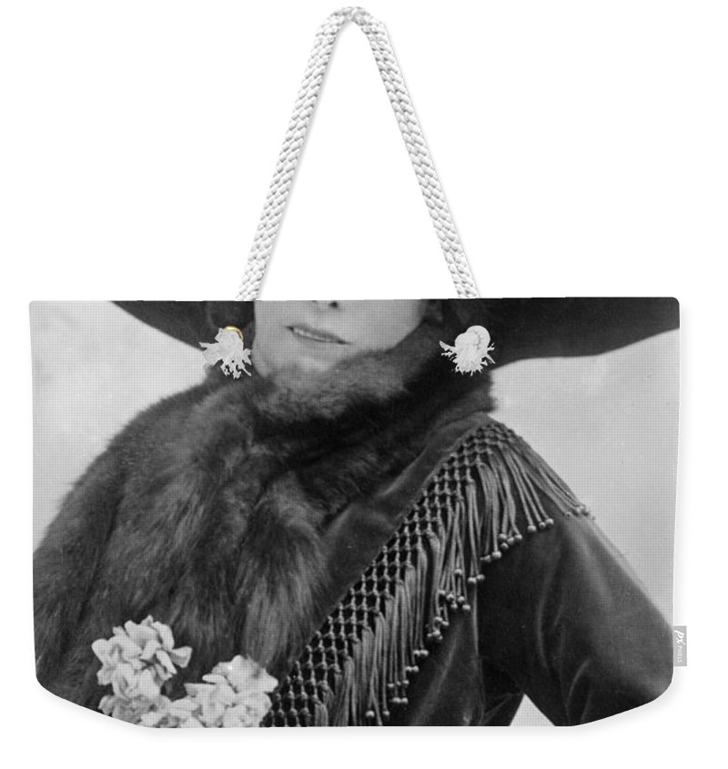 19th Century Weekender Tote Bag featuring the photograph Sarah Bernhardt (1844-1923) by Granger