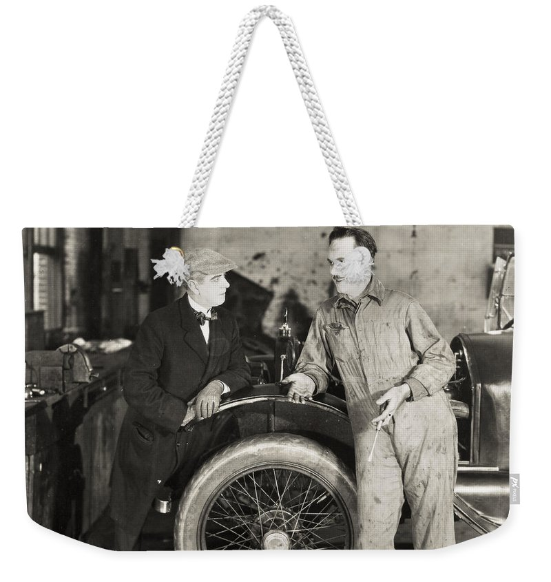 -transportation: Automobiles- Weekender Tote Bag featuring the photograph Silent Film: Automobiles by Granger