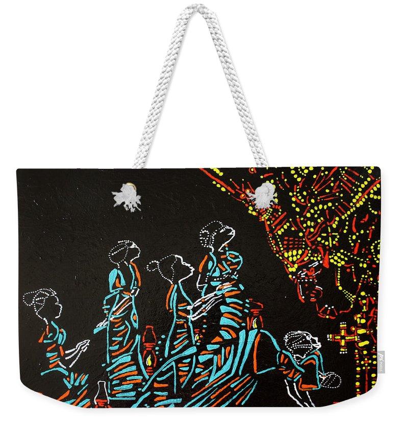 Jesus Weekender Tote Bag featuring the painting Wise Virgins by Gloria Ssali