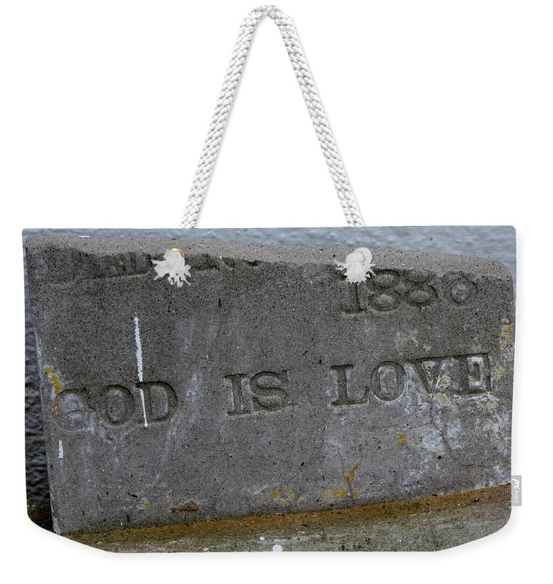 Weekender Tote Bag featuring the photograph 1886 God Is Love Stone by Michele Nelson
