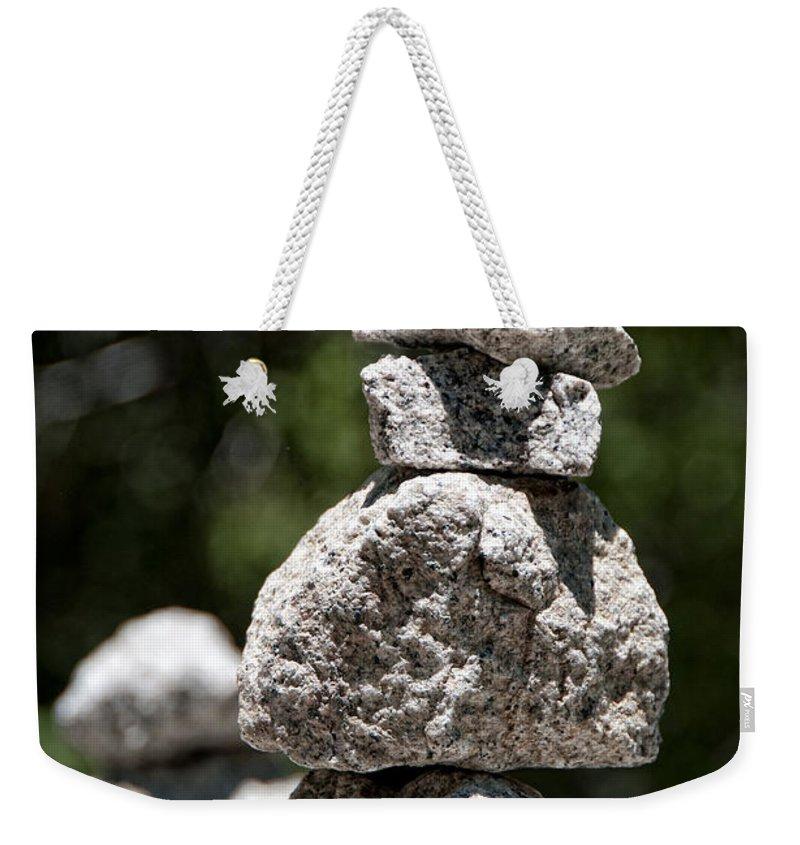 Balanced Stones Weekender Tote Bag featuring the digital art Yosemite by Carol Ailles