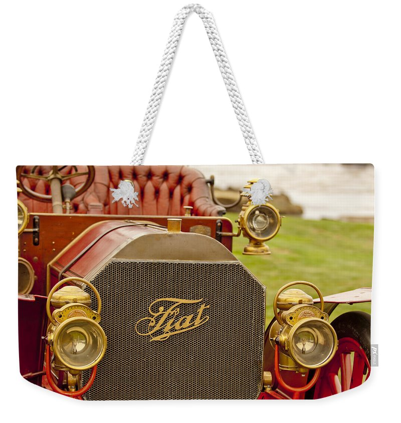 1905 Fiat 60hp Quimby Touring Weekender Tote Bag featuring the photograph 1905 Fiat 60hp Quimby Touring by Jill Reger