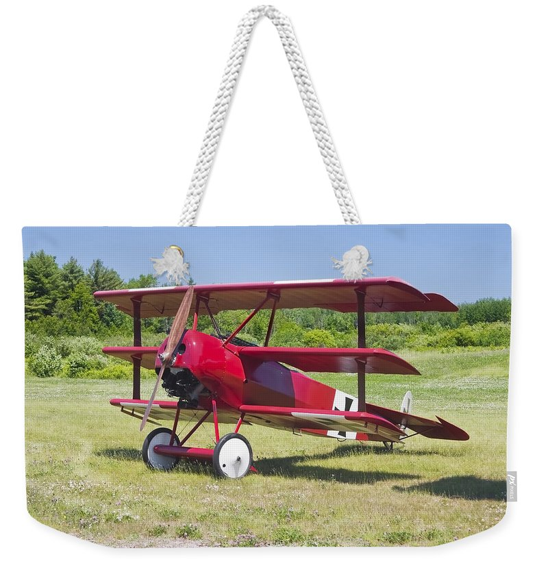 Red Barron Weekender Tote Bag featuring the photograph 1917 Fokker Dr.1 Triplane Red Barron Canvas Photo Print Poster by Keith Webber Jr
