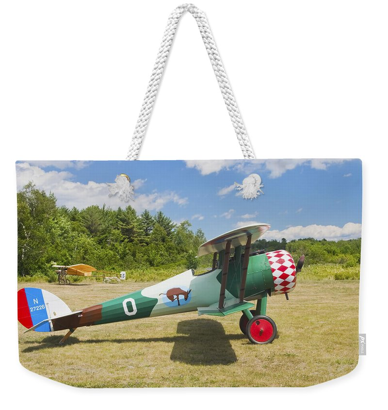1917 Weekender Tote Bag featuring the photograph 1917 Nieuport 28c.1 Antique Fighter Biplane Canvas Photo Poster Print by Keith Webber Jr