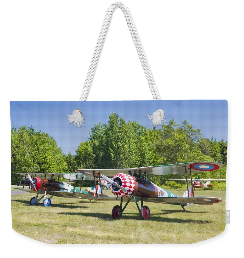 1917 Nieuport 28c.1 Weekender Tote Bag featuring the photograph 1917 Nieuport 28c.1 World War One Antique Fighter Biplane Canvas Poster Print by Keith Webber Jr
