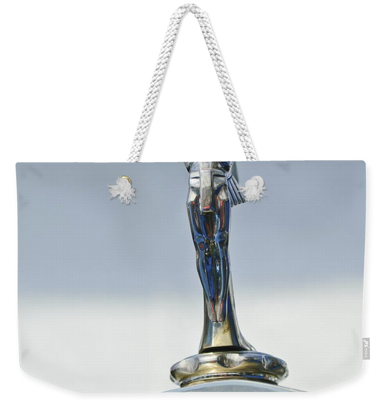 1928 Isotta Fraschini Tipo 8as Landaulet Weekender Tote Bag featuring the photograph 1928 Isotta Fraschini Tipo 8as Landaulet Hood Ornament by Jill Reger