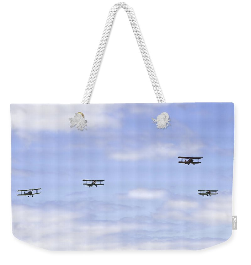 1931 Weekender Tote Bag featuring the photograph 1931 Waco Ubf2 1917 Spad Xiiici1917 Nieuport 28c1 And De Havilland Dh82a Tiger Moth Photo Print by Keith Webber Jr