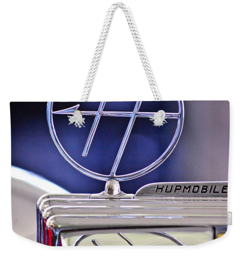 1932 Hupmobile Custom Roadster Weekender Tote Bag featuring the photograph 1932 Hupmobile Custom Roadster Hood Ornament by Jill Reger