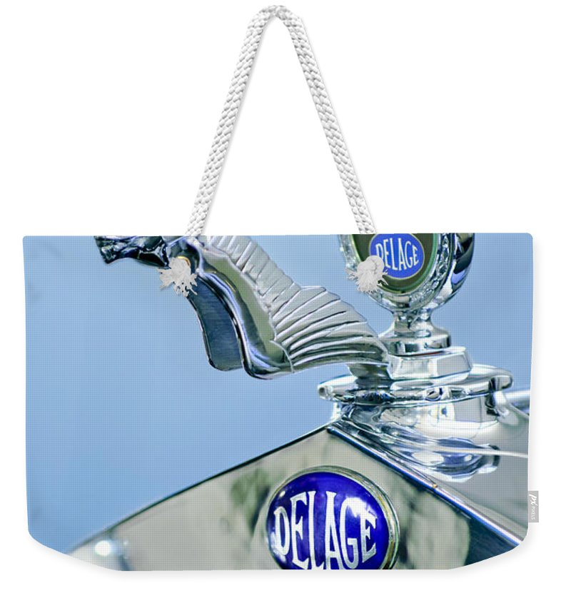 1933 Delage D8s Coupe Weekender Tote Bag featuring the photograph 1933 Delage D8s Coupe Hood Ornament by Jill Reger