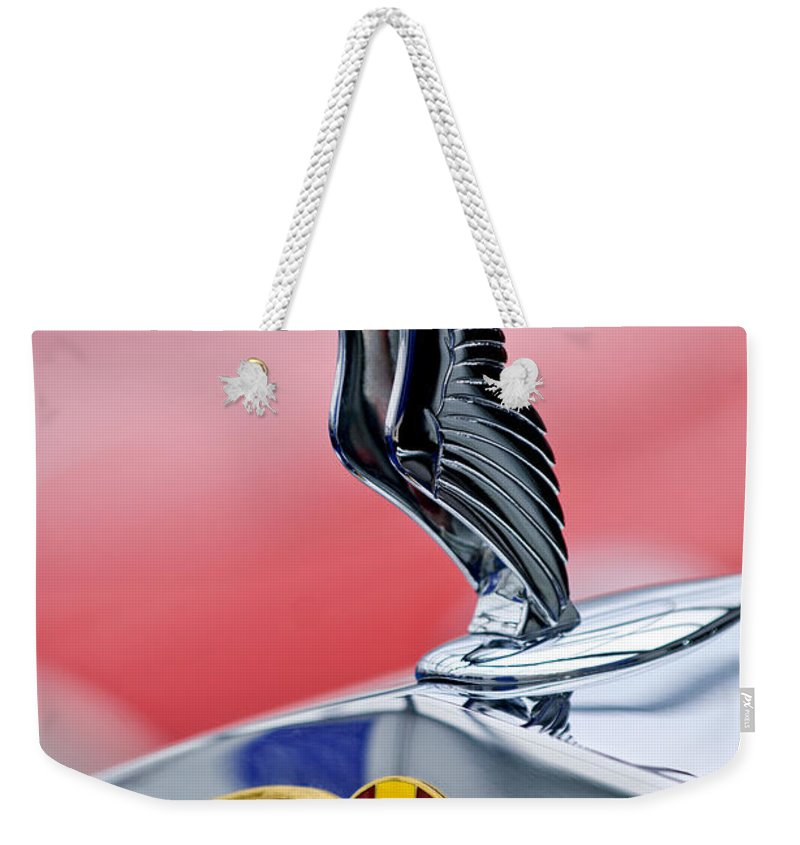 1937 Hispano-suiza K6 Coach Mouette Weekender Tote Bag featuring the photograph 1937 Hispano-suiza Hood Ornament by Jill Reger
