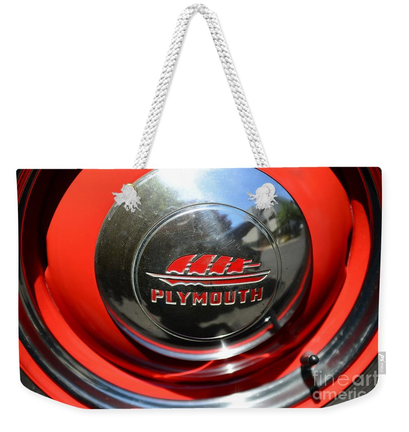 1937 Plymouth Pick Up Truck Weekender Tote Bag featuring the photograph 1937 Plymouth Hubcap by Paul Ward