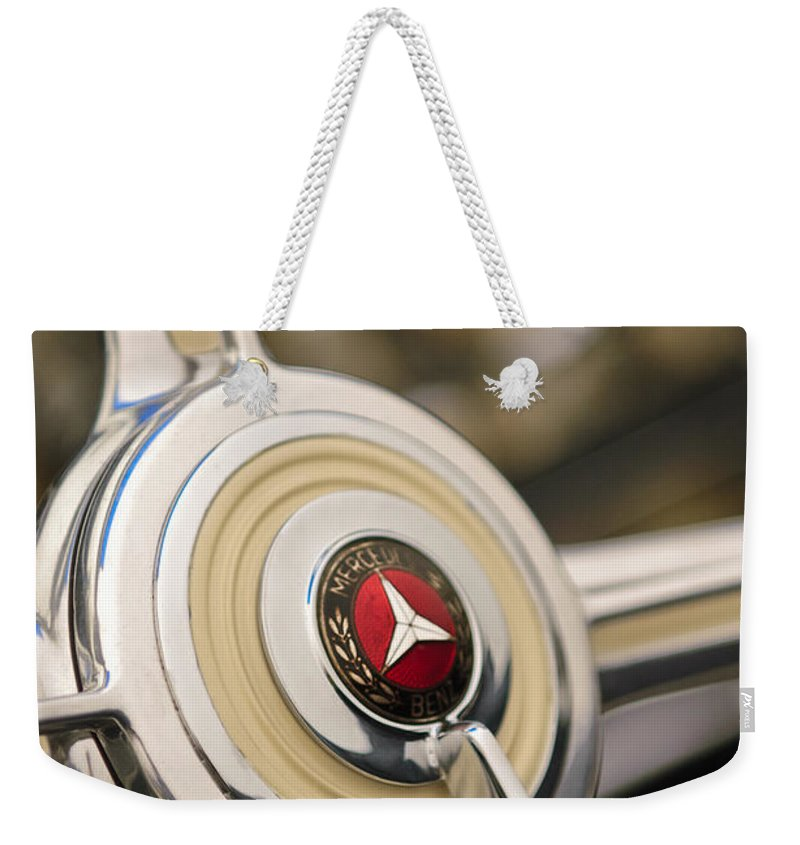 1939 Mercedes-benz 540k Special Roadster Weekender Tote Bag featuring the photograph 1939 Mercedes-benz 540k Special Roadster Steering Wheel by Jill Reger