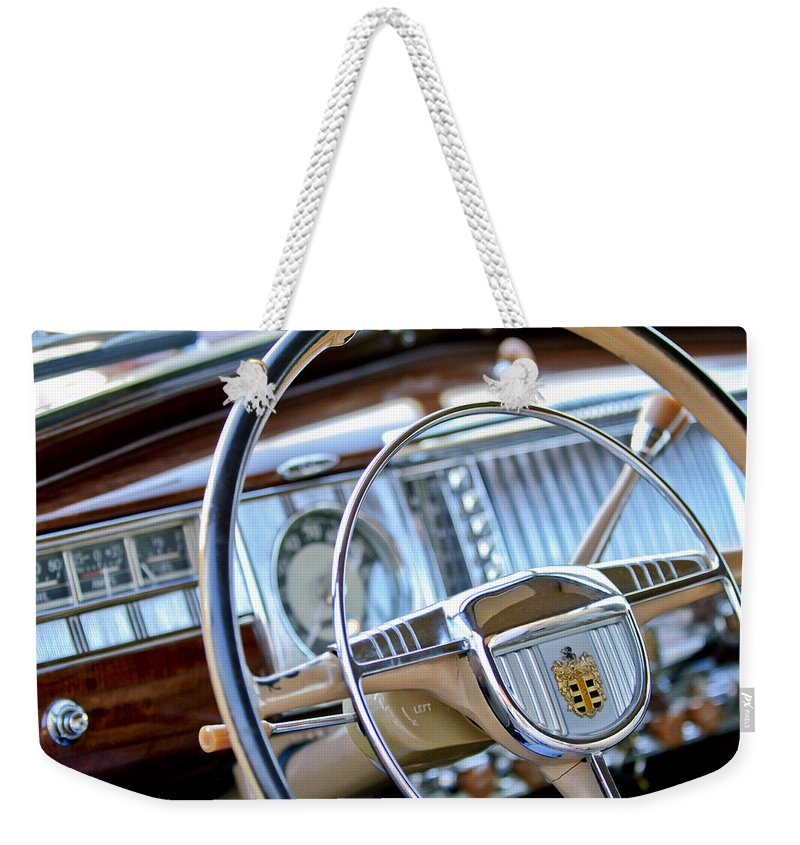 1948 Dodge Weekender Tote Bag featuring the photograph 1948 Dodge Steering Wheel by Jill Reger