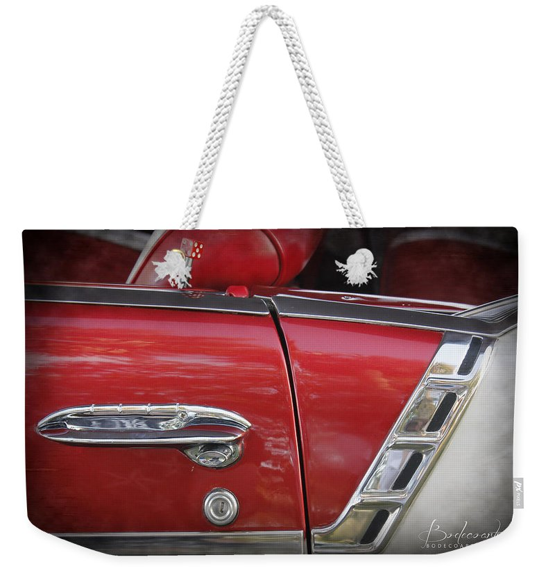 Grill Weekender Tote Bag featuring the photograph 1950s Chevrolet Belair Chevy Antique Vintage Car 3 by Robin Lewis