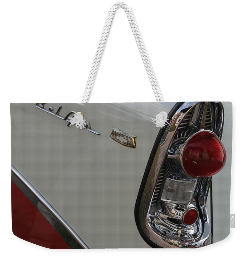 Grill Weekender Tote Bag featuring the photograph 1950s Chevrolet Belair Chevy Antique Vintage Car by Robin Lewis