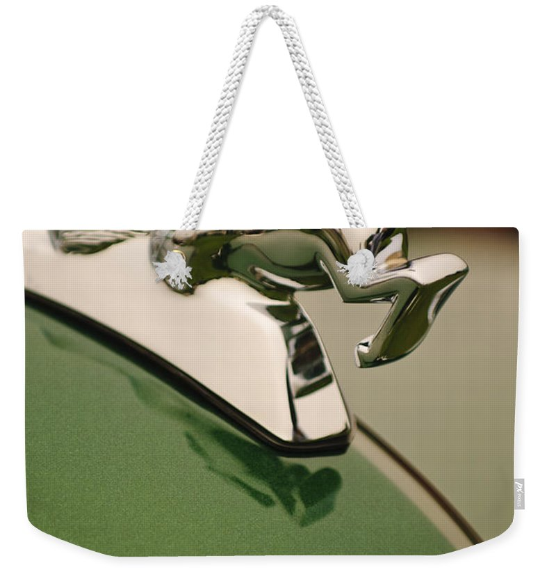 1952 Sterling Gladwin Maverick Sportster Weekender Tote Bag featuring the photograph 1952 Sterling Gladwin Maverick Sportster Hood Ornament by Jill Reger