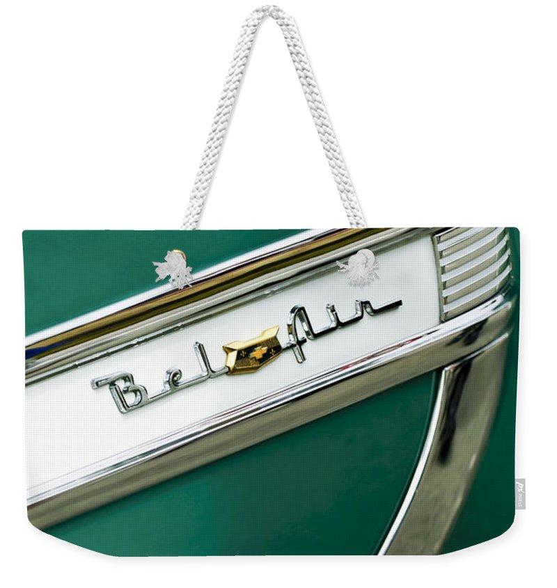 1953 Chevrolet Belair Weekender Tote Bag featuring the photograph 1953 Chevrolet Belair Side Emblem by Jill Reger