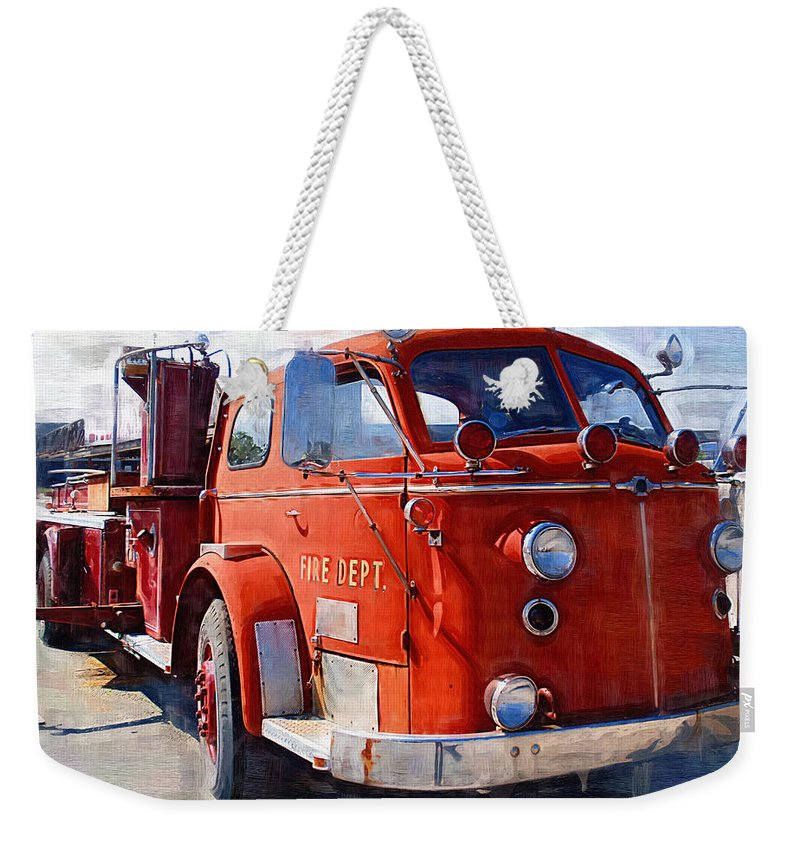 Classic Weekender Tote Bag featuring the photograph 1954 American Lafrance Classic Fire Engine Truck by Kathy Clark