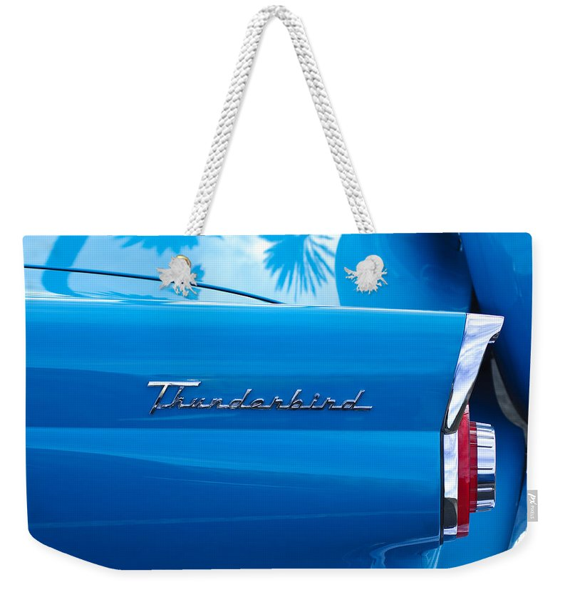 1956 Ford Thunderbird Weekender Tote Bag featuring the photograph 1956 Ford Thunderbird Taillight Emblem by Jill Reger