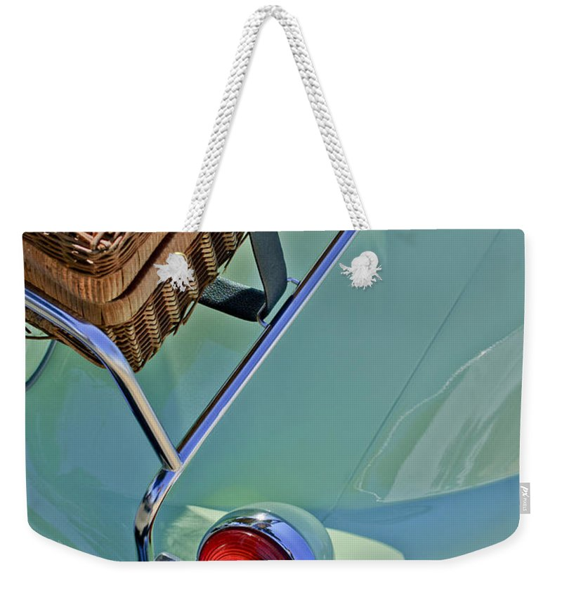1957 Bmw Isetta 300 Motocoupe Weekender Tote Bag featuring the photograph 1957 Bmw Isetta 300 Motocoupe Taillight by Jill Reger