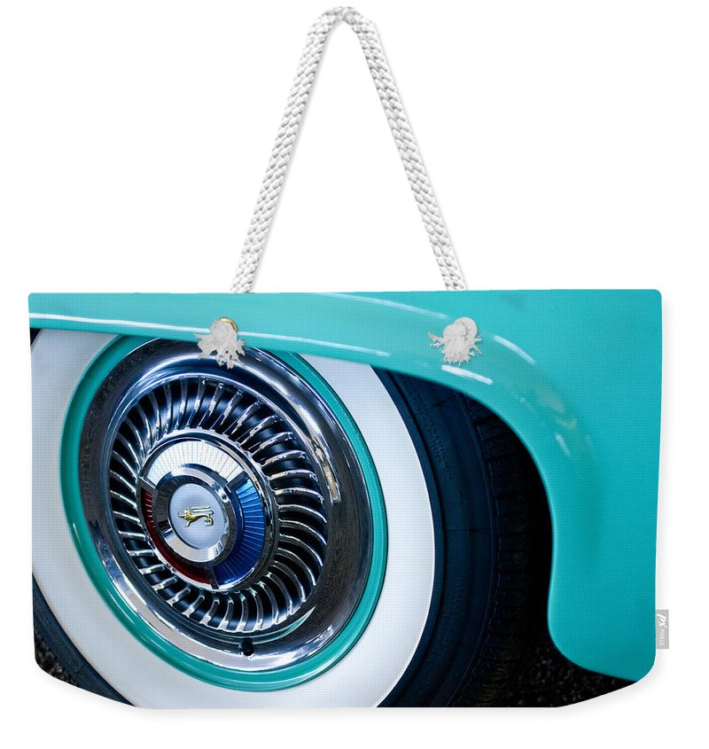 1959 Ford Ranchero Weekender Tote Bag featuring the photograph 1959 Ford Ranchero Wheel Emblem by Jill Reger