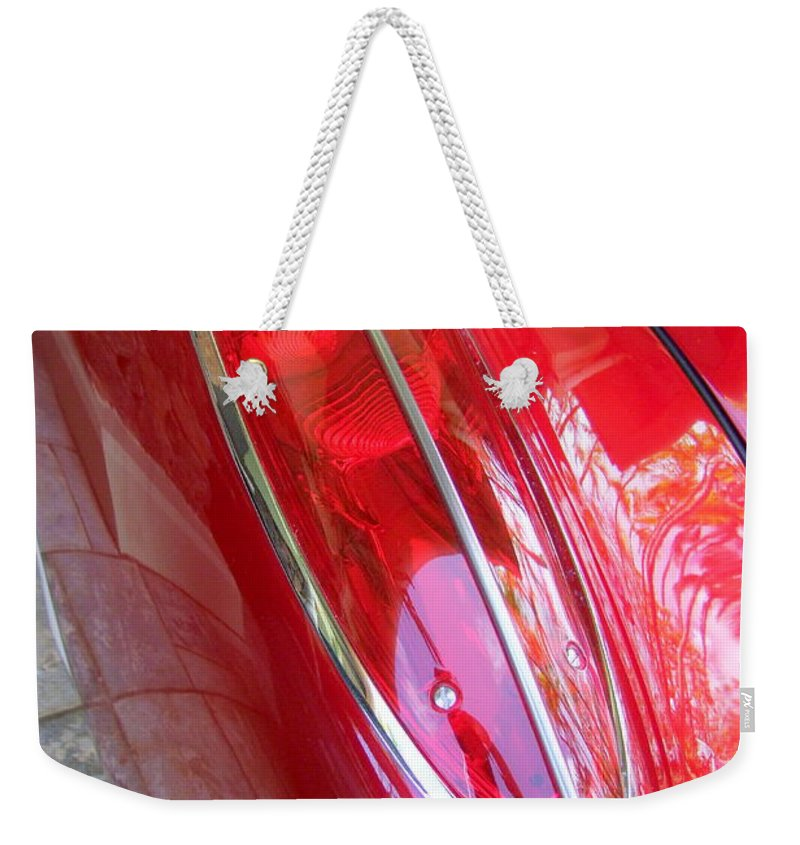 Corvette Weekender Tote Bag featuring the photograph 1960 Chevrolet Corvette Tail Light by Mary Deal
