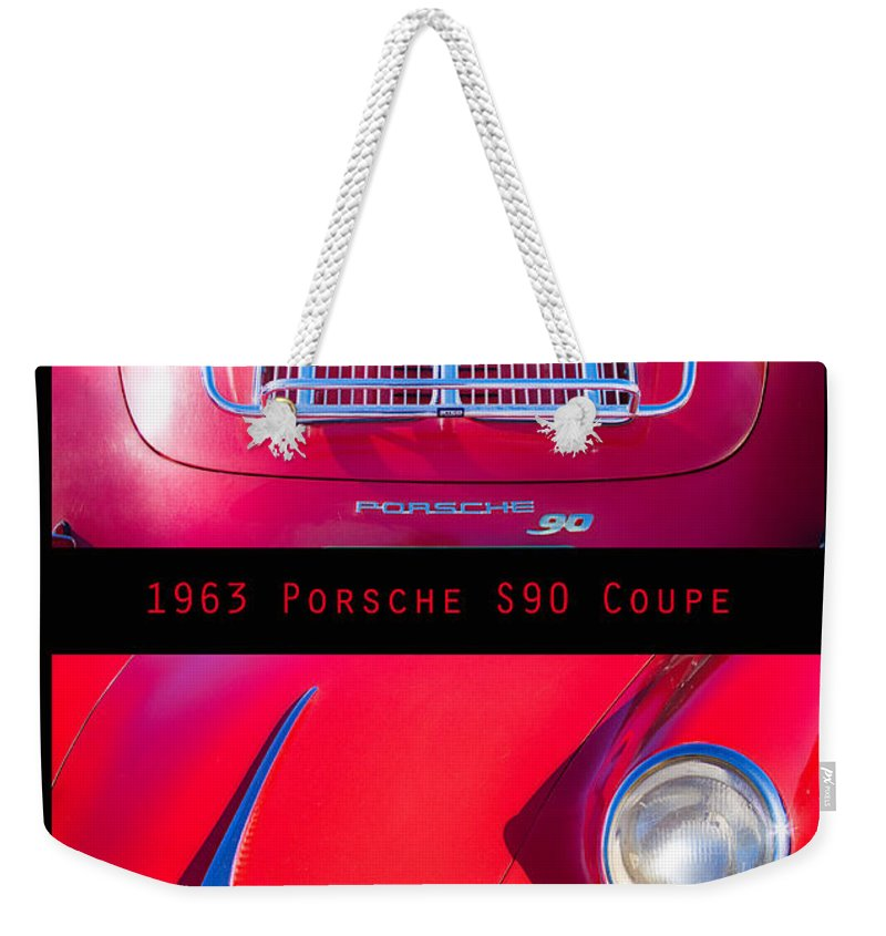 1963 Weekender Tote Bag featuring the photograph 1963 Red Porsche S90 Coupe Poster S by James BO Insogna