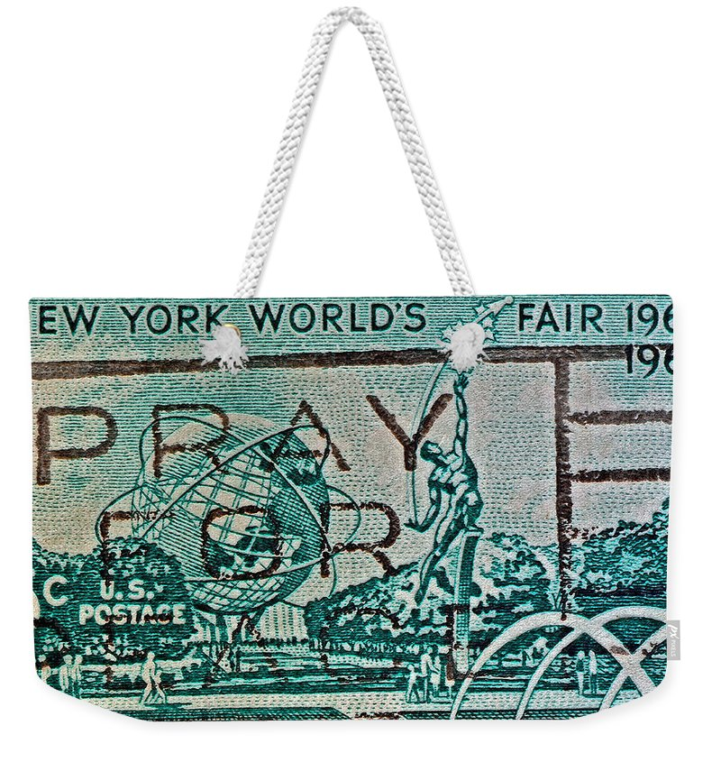 1964 Weekender Tote Bag featuring the photograph 1964 New York World's Fair Stamp by Bill Owen
