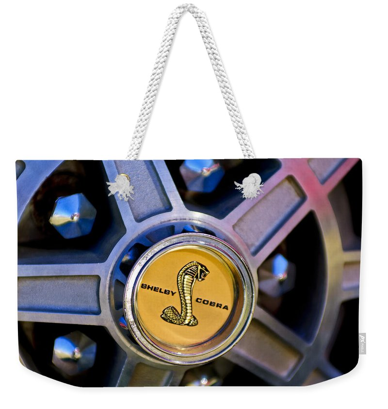1968 Ford Shelby Gt500 Kr Convertible Weekender Tote Bag featuring the photograph 1968 Ford Shelby Gt500 Kr Convertible Wheel Emblem by Jill Reger