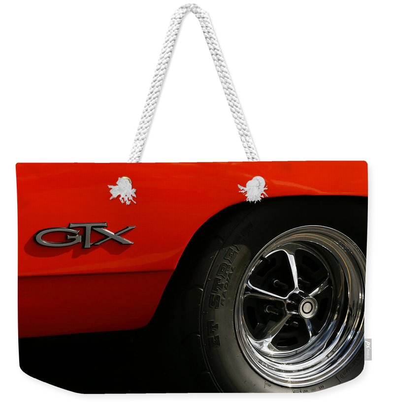 1969 Weekender Tote Bag featuring the photograph 1969 Plymouth Gtx Hemi by Gordon Dean II