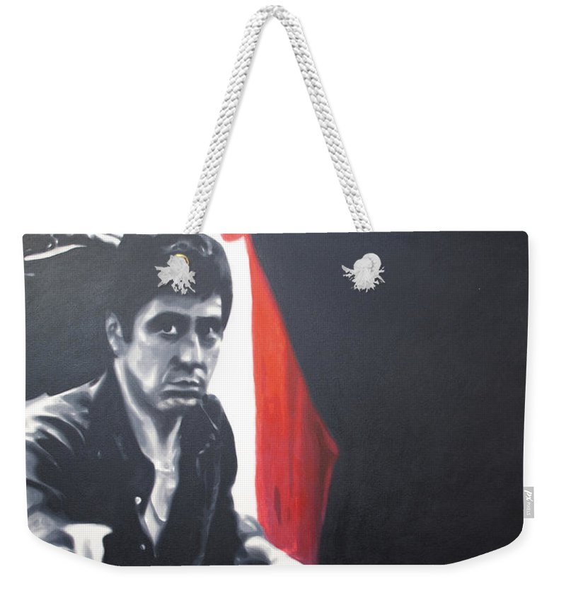 Scarface Weekender Tote Bag featuring the painting - Scarface - by Luis Ludzska