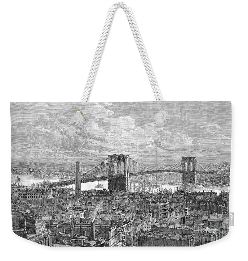 1883 Weekender Tote Bag featuring the photograph Brooklyn Bridge, 1883 by Granger