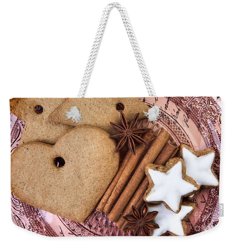 Ginger Weekender Tote Bag featuring the photograph Christmas Gingerbread by Nailia Schwarz
