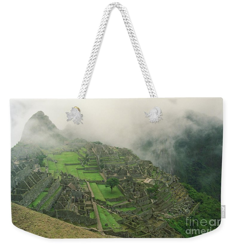 South America Weekender Tote Bag featuring the photograph City In The Sky by Kathy McClure