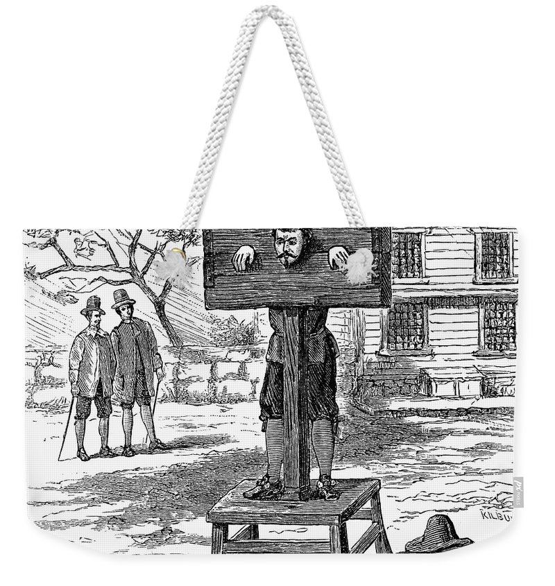 17th Century Weekender Tote Bag featuring the photograph Colonial Pillory - To License For Professional Use Visit Granger.com by Granger