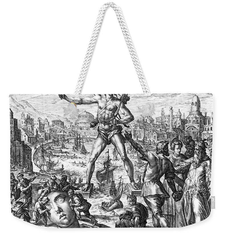 3rd Century B. C. Weekender Tote Bag featuring the photograph Colossus Of Rhodes by Granger