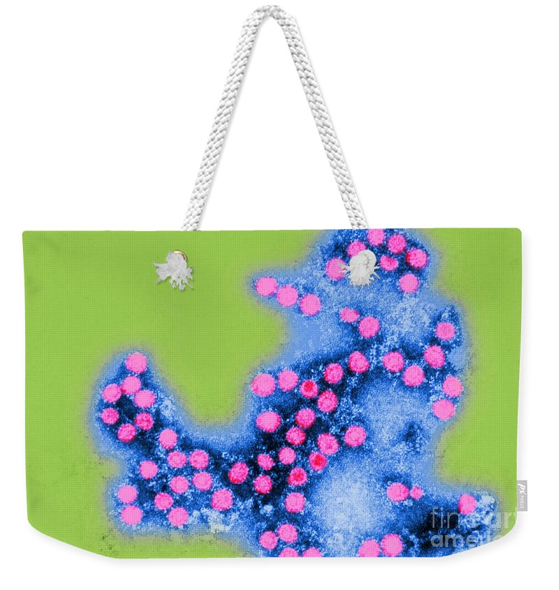 Color Weekender Tote Bag featuring the photograph Coxsackie B4 Virus, Tem by Science Source