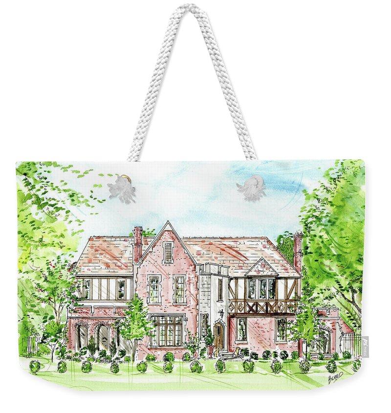 House Rendering Weekender Tote Bag featuring the painting Custom House Rendering by Lizi Beard-Ward