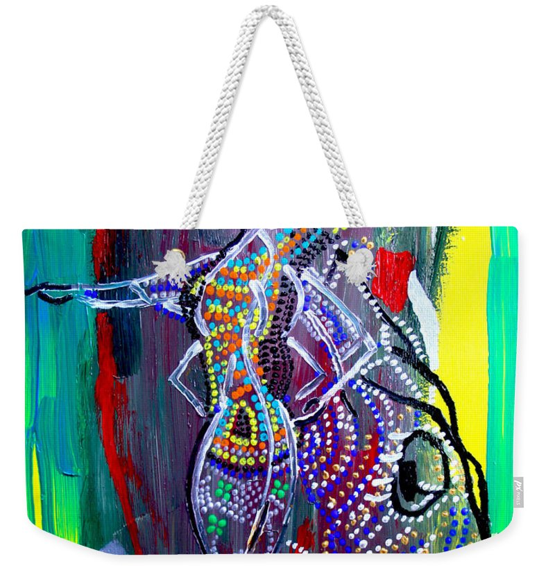 Jesus Weekender Tote Bag featuring the painting Dinka Lady - South Sudan by Gloria Ssali