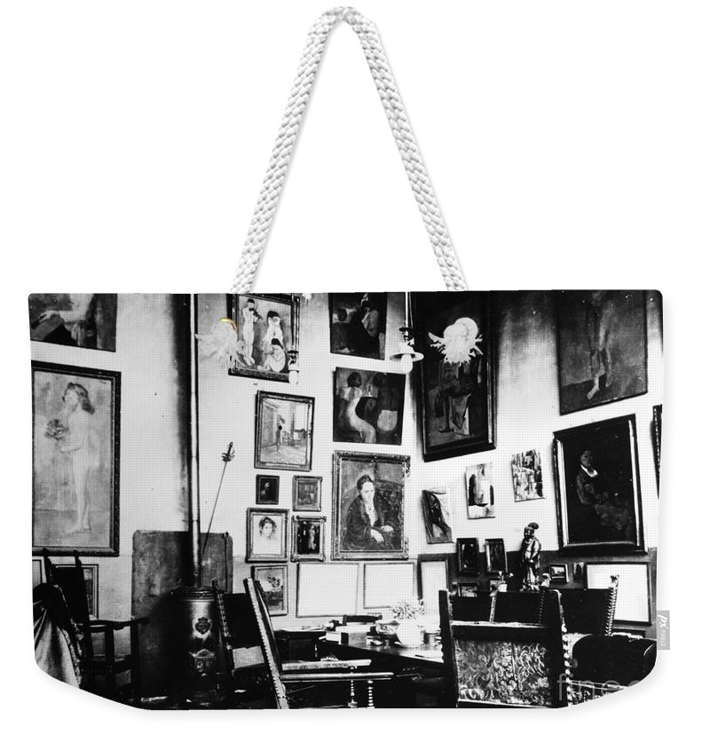 1915 Weekender Tote Bag featuring the photograph Gertrude Stein (1874-1946) by Granger