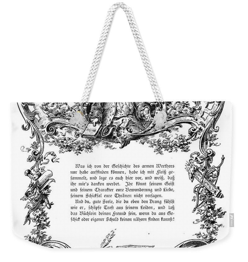 18th Century Weekender Tote Bag featuring the photograph Goethe: Werther by Granger