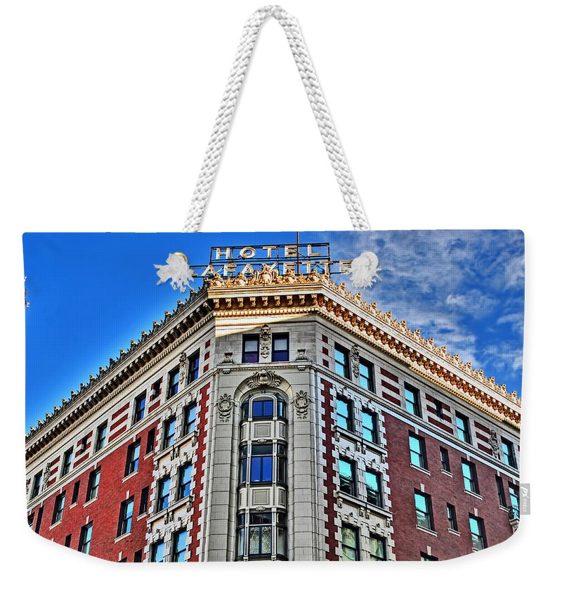Weekender Tote Bag featuring the photograph Hotel Lafayette by Michael Frank Jr