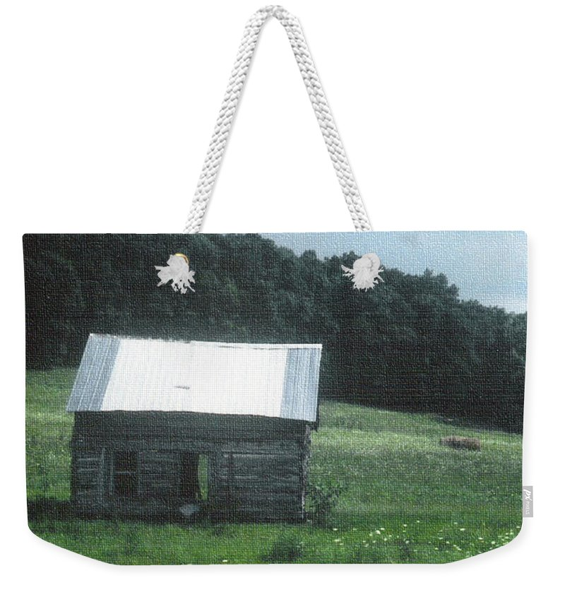 Cabin Weekender Tote Bag featuring the photograph Log Cabin by Charles Robinson