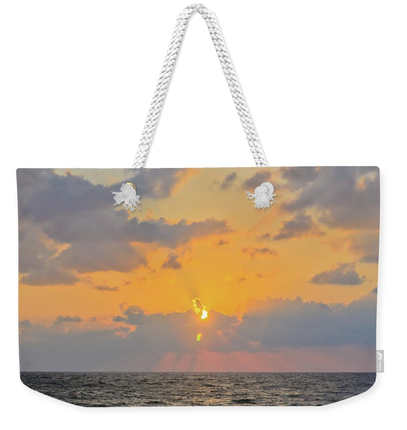 Blue Weekender Tote Bag featuring the photograph Mediterranean Sunset by Michael Goyberg