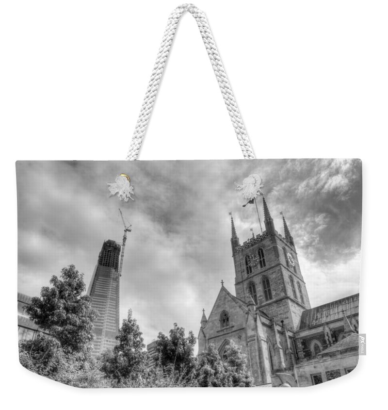Shard Weekender Tote Bag featuring the photograph New and Old by Chris Day