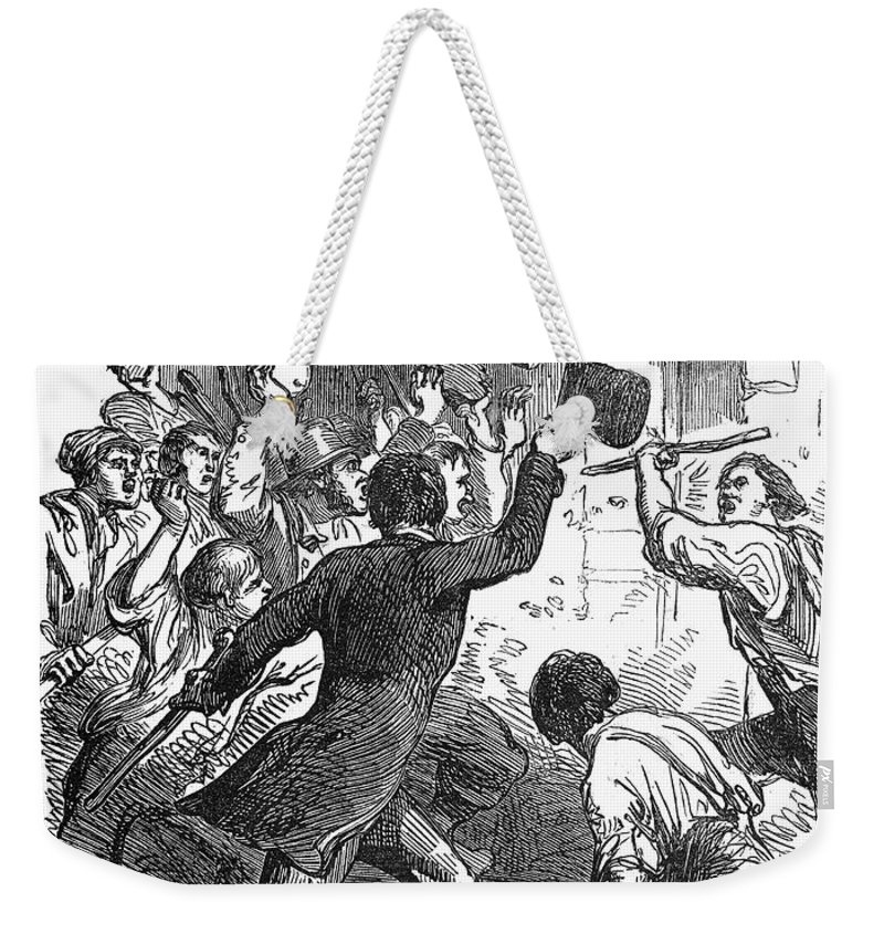 1849 Weekender Tote Bag featuring the photograph New York: Astor Place Riot by Granger
