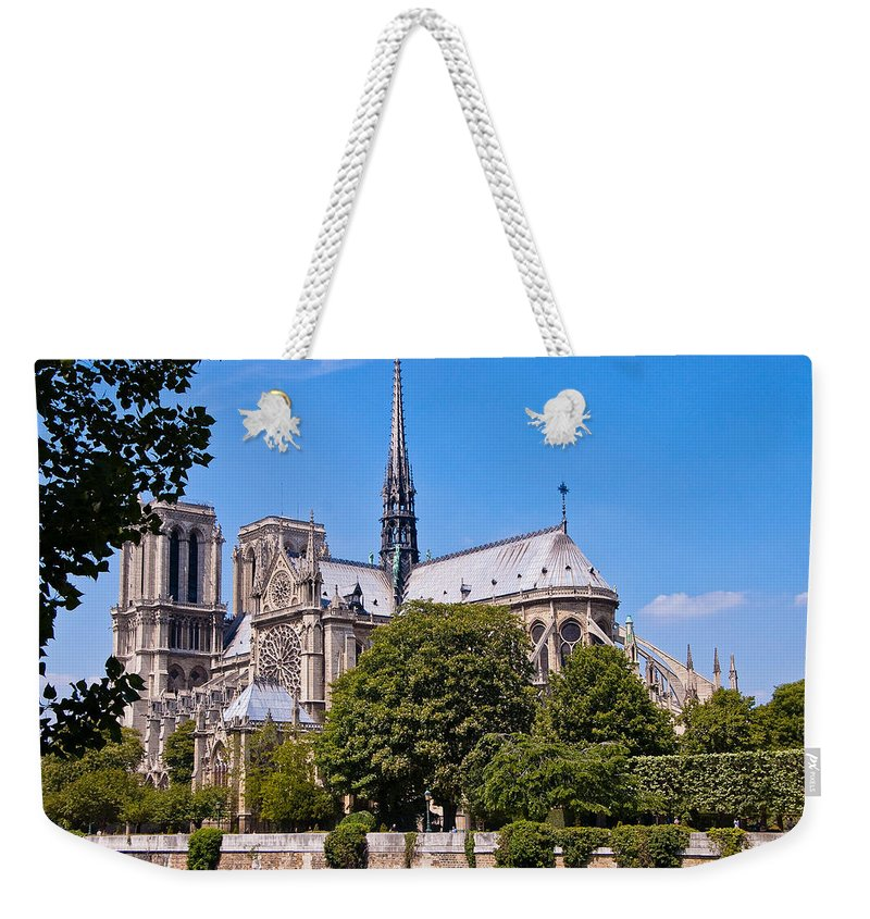 France Weekender Tote Bag featuring the photograph Notre Dame Cathedral Paris France by Jon Berghoff