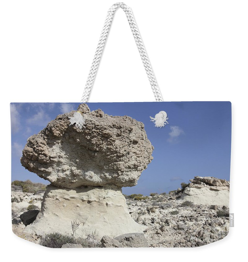 Day Weekender Tote Bag featuring the photograph Sarakiniko White Tuff Formations by Richard Roscoe