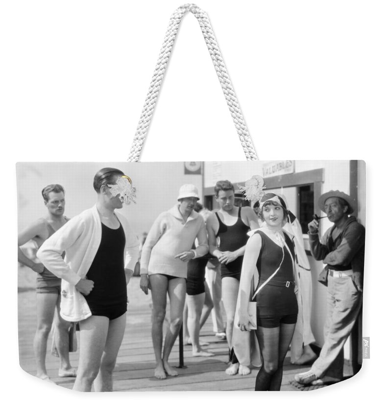 -beaches- Weekender Tote Bag featuring the photograph Silent Film Still: Beach by Granger